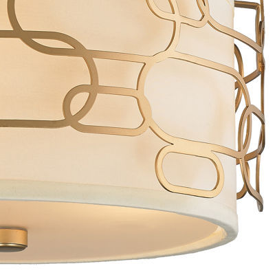 Montauk Collection 3 Light Matte Finish with IvoryLinen Shade Flush Mount Light