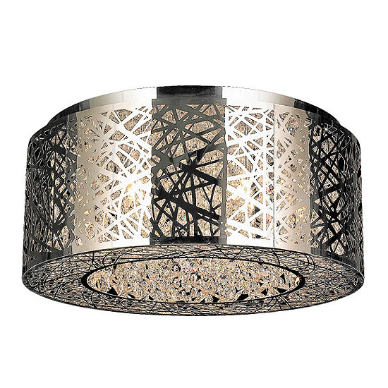 Aramis Collection 9 Light Halogen Chrome Finish Drum Shade with Clear Crystal Flush Mount Ceiling Light