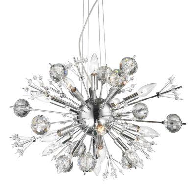 Starburst Collection 20 Light Chrome Finish and Clear Crystal Sputnik Chandelier