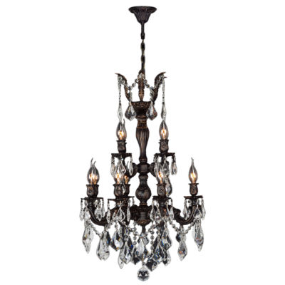Versailles Collection 12 Light 2-Tier Flemish Brass Finish and Clear Crystal Chandelier