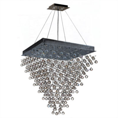 Icicle Collection 16 Light Chrome Finish and ClearCrystal Square Chandelier