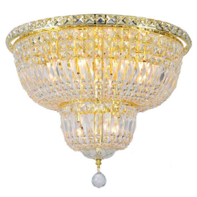 Empire Collection 10 Light Round Clear Crystal Flush Mount Ceiling Light