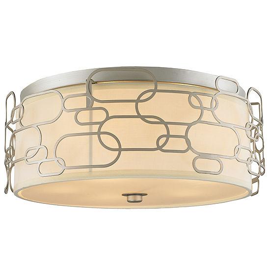 Montauk Collection 5 Light Matte Finish with IvoryLinen Shade Flush Mount Light