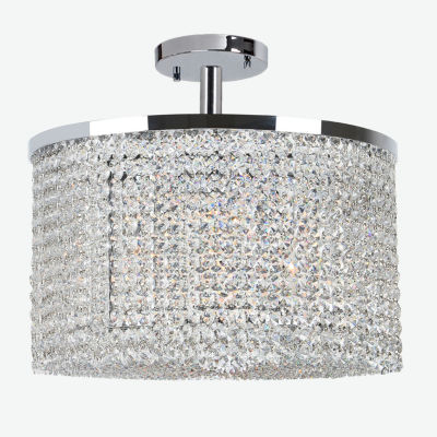 "Prism Collection 9 Light 10"" Round Chrome Finish Crystal String Semi Flush Mount Ceiling Light"