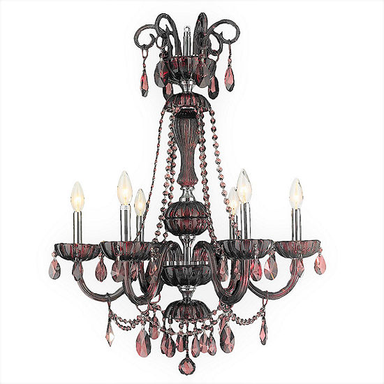 "Carnivale Collection 6 Light Chrome Finish and Cranberry Crystal Chandelier 25"" D x 34"" H Large"
