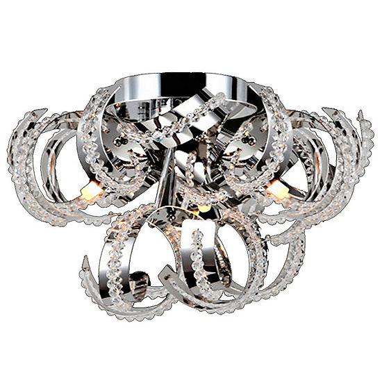 Medusa Collection 3 Light Chrome Finish Crystal Ribbon Flush Mount Ceiling Light