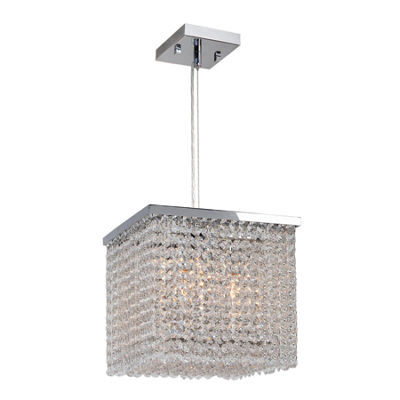 Prism Collection 4 Light Chrome Finish and Clear Crystal Square Pendant