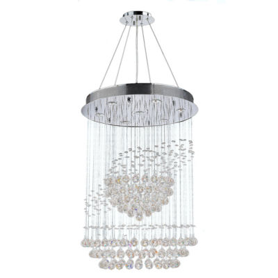 Saturn Collection 7 Light Chrome Finish and ClearCrystal Galaxy Chandelier