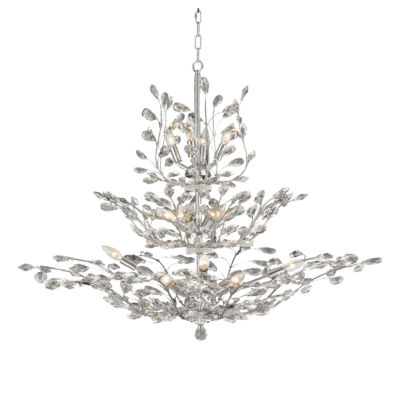 Aspen Collection 18 Light 3-Tier Clear Crystal Floral Chandelier