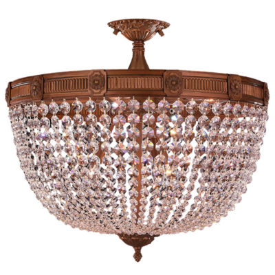 Winchester Collection 9 Light Clear Crystal Semi Flush Mount Ceiling Light