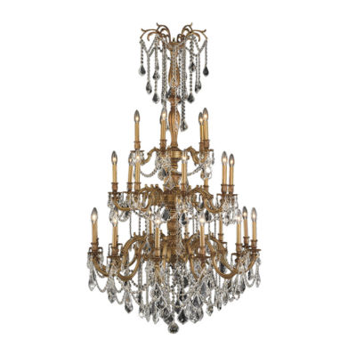 Windsor Collection 25 Light 3-Tier French Gold Finish and Clear Crystal Chandelier