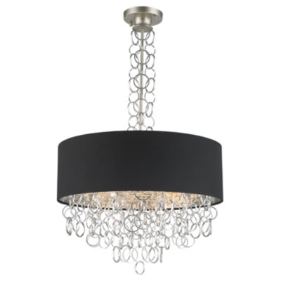 Catena Collection 6 Light Matte Finish with BlackLinen Drum Shade Pendant
