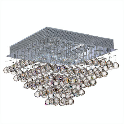 Icicle Collection 5 Light Chrome Finish and ClearCrystal Square Flush Mount Ceiling Light