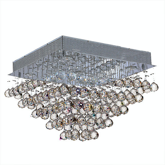 Icicle Collection 5 Light Chrome Finish and Clear Crystal Square Flush Mount Ceiling Light