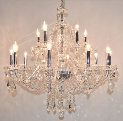 Provence Collection 15 Light 2-Tier Chrome Finishand Clear Crystal Chandelier