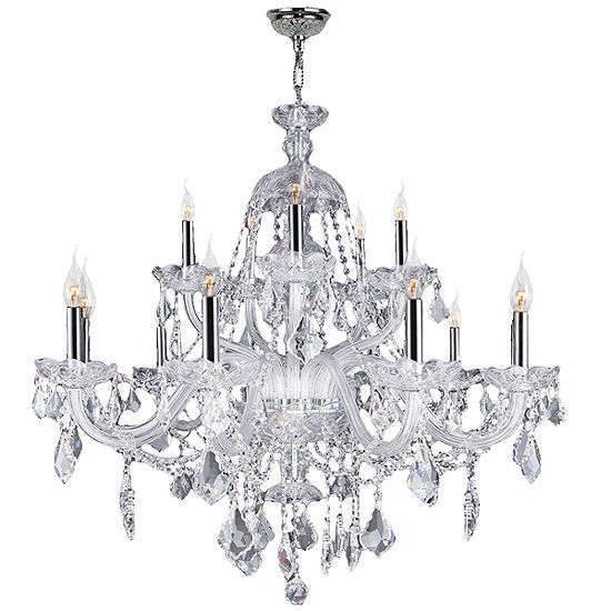 Provence Collection 15 Light 2-Tier Chrome Finish and Clear Crystal Chandelier