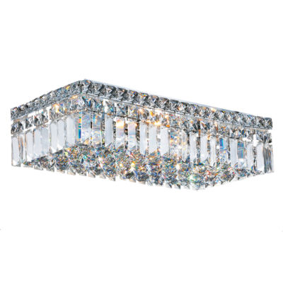 """Cascade Collection 4 Light 5"""" Rectangle Chrome Finish and Clear Crystal Flush Mount Ceiling Light """""""