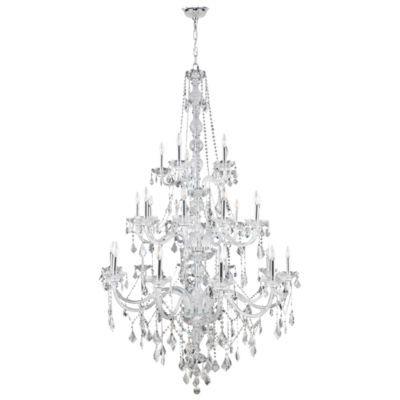 """Provence Collection 25 Light 3-Tier 68"""" Chrome Finish and Clear Crystal Chandelier"""""""