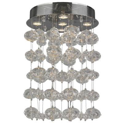 Effervescence Collection 5 Light Halogen Chrome Finish Blown Glass Bubble Flush Mount Ceiling Light