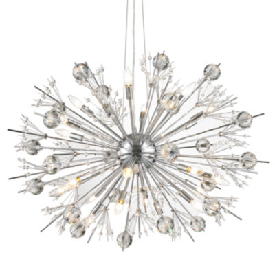 Starburst Collection 24 Light Chrome Finish and Clear Crystal Sputnik Chandelier