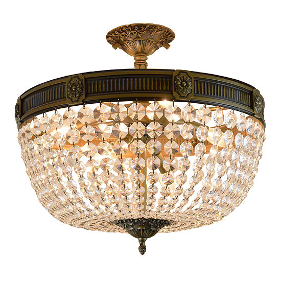 Winchester Collection 6 Light Clear Crystal Semi Flush Mount Ceiling Light