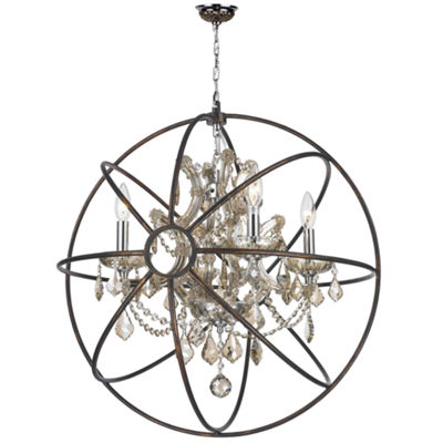 Armillary Collection 4 Light Chrome Finish and Crystal with Flemish Brass Cage Finish Foucault's OrbChandelier