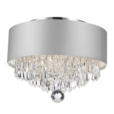 Gatsby Collection 3 Light Chrome Finish Crystal Flush Mount with Acrylic Shade