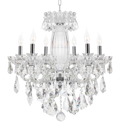 Olde World Collection 6 Light Chrome Finish Crystal Chandelier