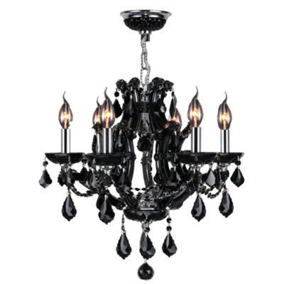 Lyre Collection 6 Light Chrome Finish and Crystal Chandelier