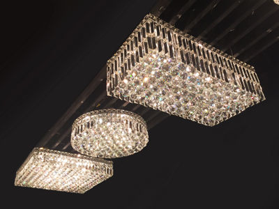 "Cascade Collection 4 Light 5.5"" Square Chrome Finish and Clear Crystal Flush Mount Ceiling Light"""