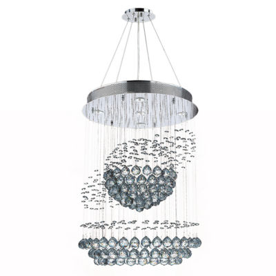 Saturn Collection 5 Light Chrome Finish and ClearCrystal Galaxy Chandelier