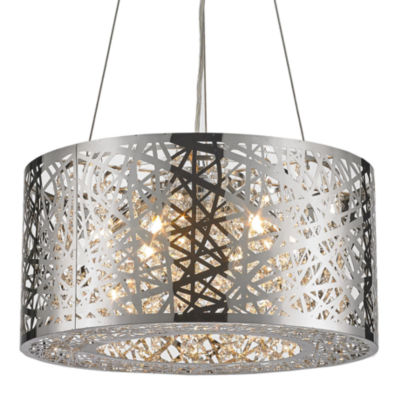 Aramis Collection 6 Light Mini Chrome Finish and Clear Crystal Drum Chandelier