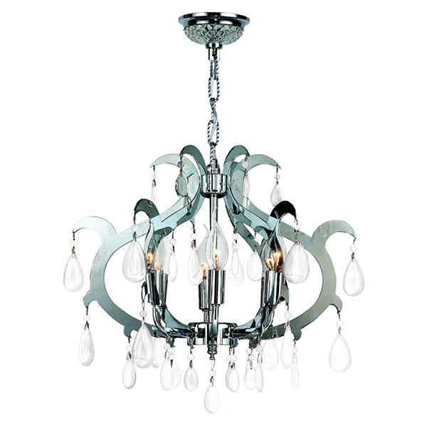 Henna Collection 6 Light Chrome Finish and Clear Crystal Chandelier