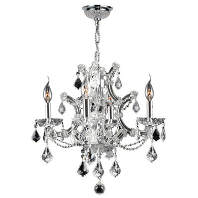 Lyre Collection 4 Light Chrome Finish and CrystalChandelier