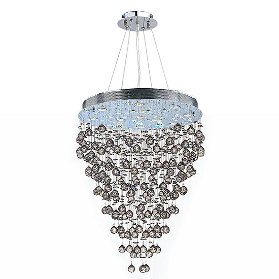 Icicle Collection 13 Light Chrome Finish And Clear Crystal Chandelier