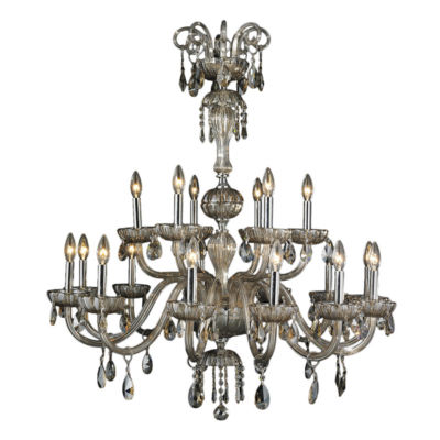 """Carnivale Collection 18 Light Chrome Finish and Golden Teak Crystal Chandelier Two 2 Tier 36"""" D x 39"""" H Large"""""""