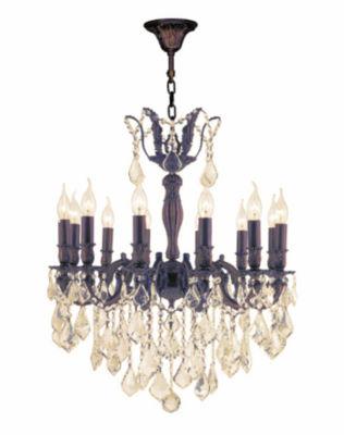 Versailles Collection 12 Light Flemish Brass Finish and Golden Teak Crystal Chandelier