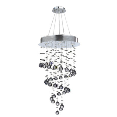 Helix Collection 6 Light Chrome Finish and Clear Crystal Spiral Chandelier