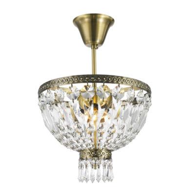Metropolitan Collection 3 Light Antique Bronze Finish Crystal Semi Flush Mount Ceiling Light
