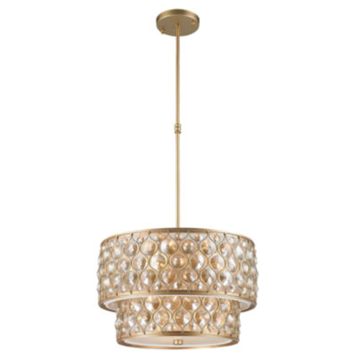 Paris Collection 9 Light Clear and Golden Teak Crystal Pendant
