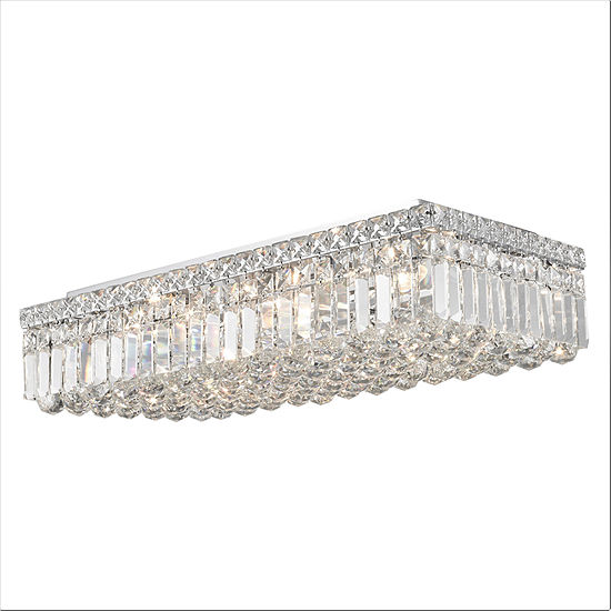 """Cascade Collection 6 Light 5"""" Rectangle Chrome Finish and Clear Crystal Flush Mount Ceiling Light"""