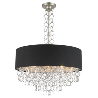 Catena Collection 8 Light Matte Finish with Black Linen Drum Shade Pendant