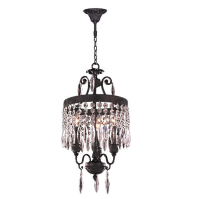 Enfield Collection 3 Light Mini Flemish Brass andClear Crystal Chandelier