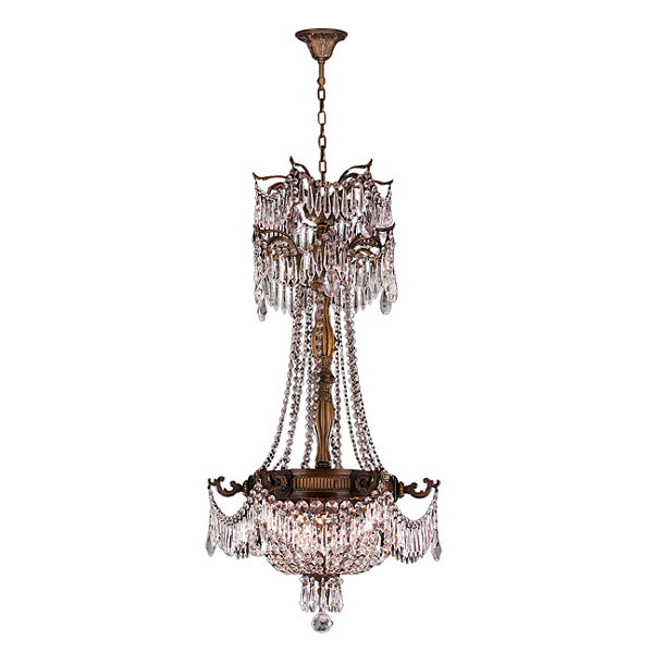 Winchester Collection 3 Light Antique Bronze Finish and Crystal Chandelier