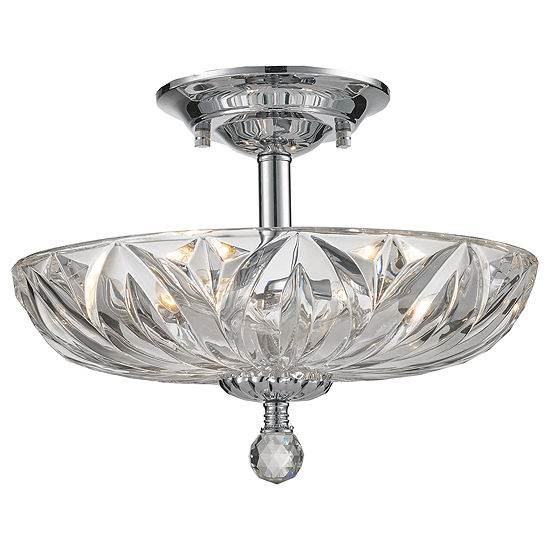 """Mansfield Collection 4 Light 16"""" Chrome Finish and Crystal Bowl Semi Flush Mount Ceiling Light"""