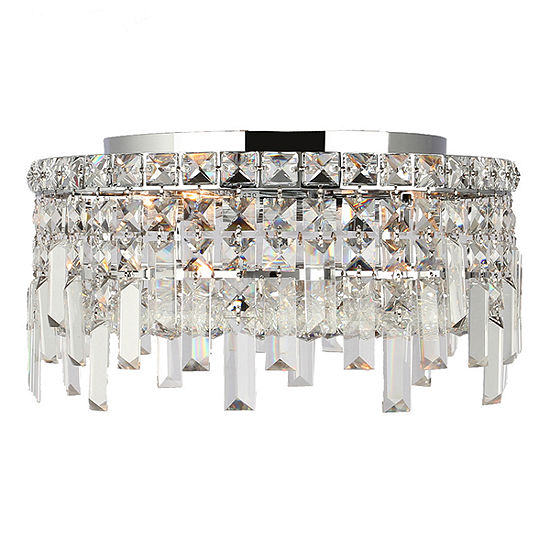 Cascade Collection 4 Light 75 Round Chrome Finish And Clear Crystal Flush Mount Ceiling Light