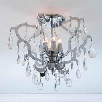 Henna Collection 6 Light Chrome Finish Crystal Flush Mount Ceiling Light