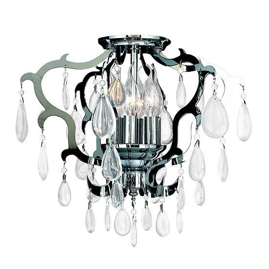 Henna Collection 6 Light Chrome Finish Crystal Flush Mount Ceiling Light