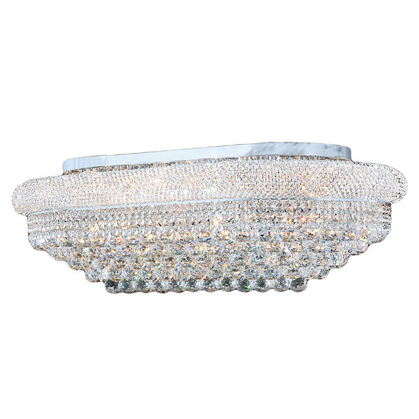 Empire Collection 18 Light Rectangle Clear CrystalFlush Mount Ceiling Light
