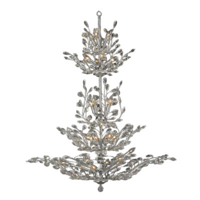 """Aspen Collection 26 Light Chrome Finish and ClearCrystal Floral Chandelier 42"""" D x 50"""" H Four 4 Tier Large"""""""